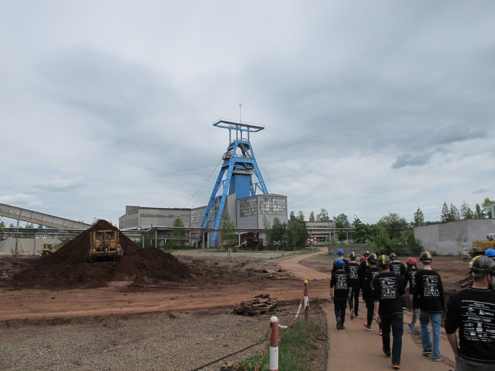 The ore is transported underground to another shaft where it is then brought to surface for processing